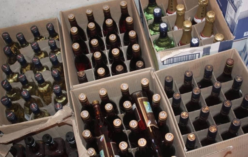 Алкоголь в ящиках