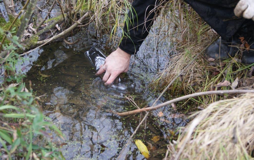 Сотрудник берет пробу воды