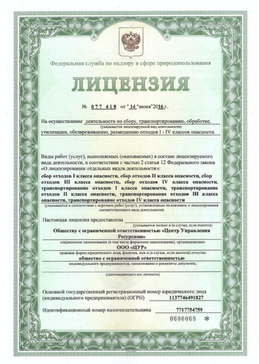 Первая страница лицензии ЦУР